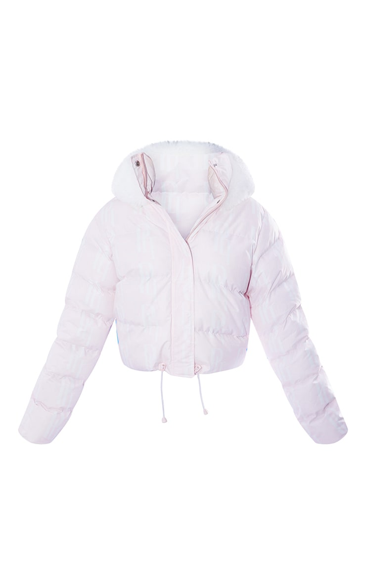 PRETTYLITTLETHING Ski Pastel Pink Faux Fur Hooded Puffer Coat 5