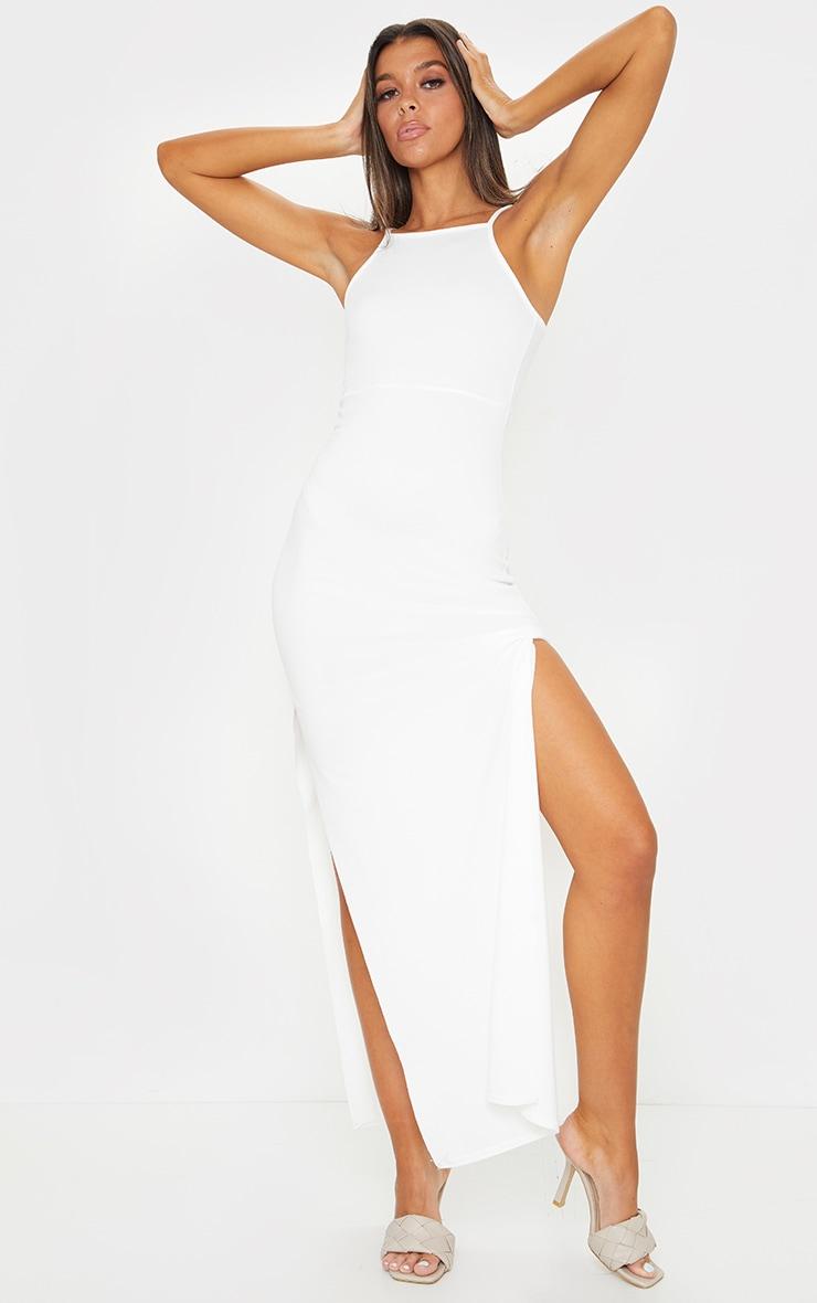 Cream Racer Neck Low Back Maxi Dress 1