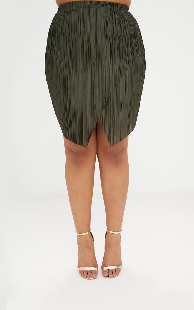 Plus Emerald Green Pleated Wrap Mini Skirt 2