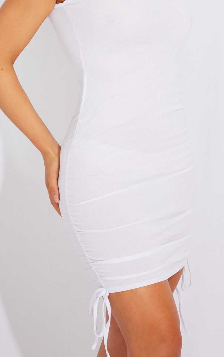 White Ruched Side Sleeveless Bodycon Dress 4