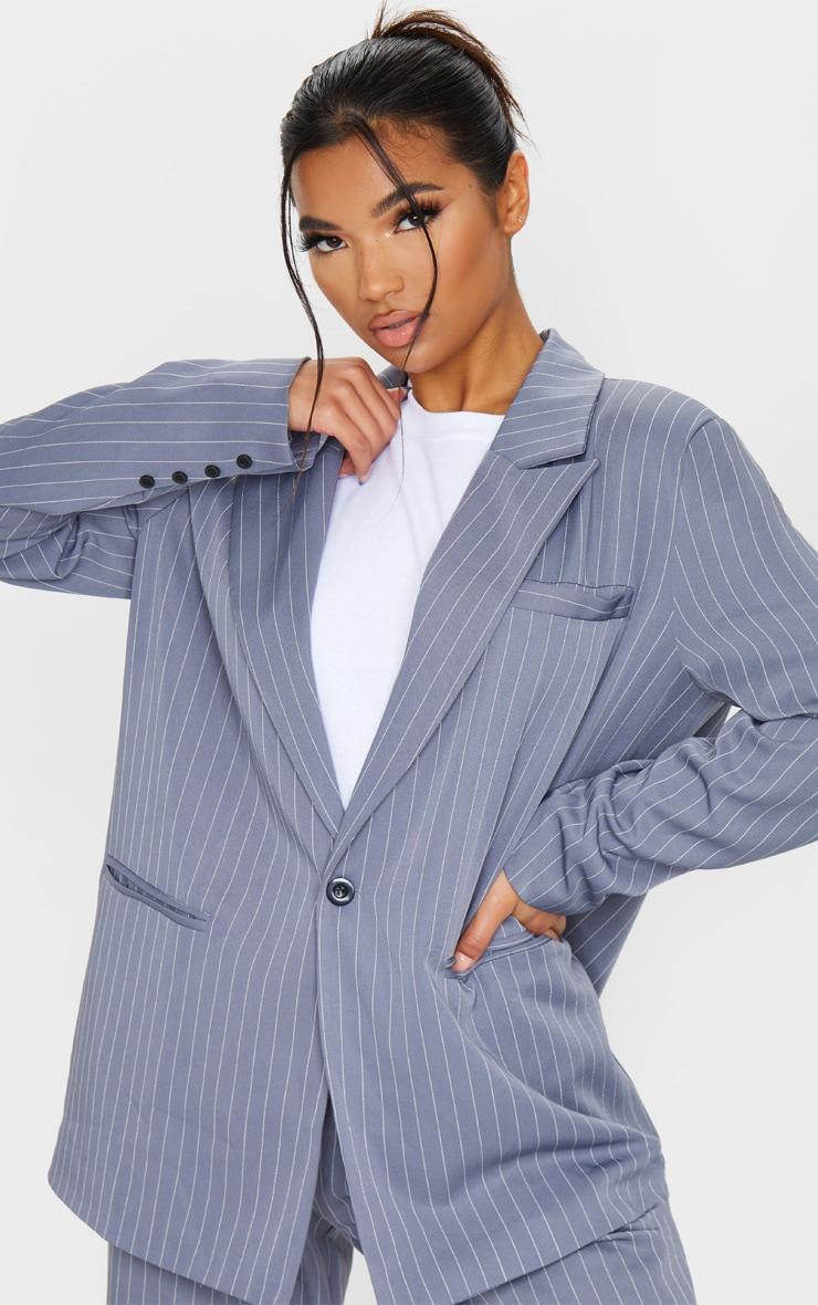 Charcoal Grey Pinstripe Oversized Dad Blazer 5