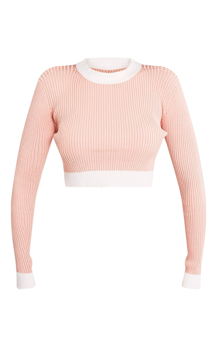 Sufiya Nude Colour Blocked Knit Ribbed Crop 3