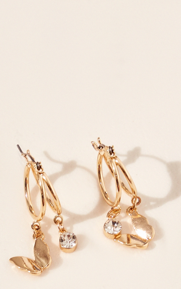 Gold Mini Diamante Butterfly Cut Out Hoop Earrings 2