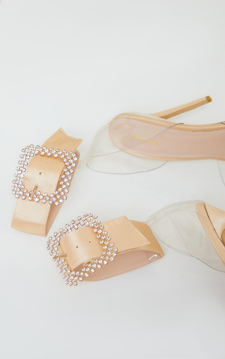 Nude Clear Diamante Buckle Ankle Strap Stiletto Heel Court Shoes 3
