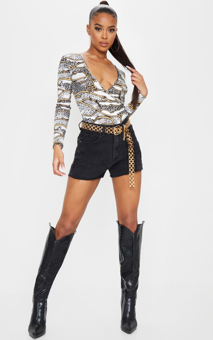 White Chain Printed Wrap Long Sleeve Bodysuit 3