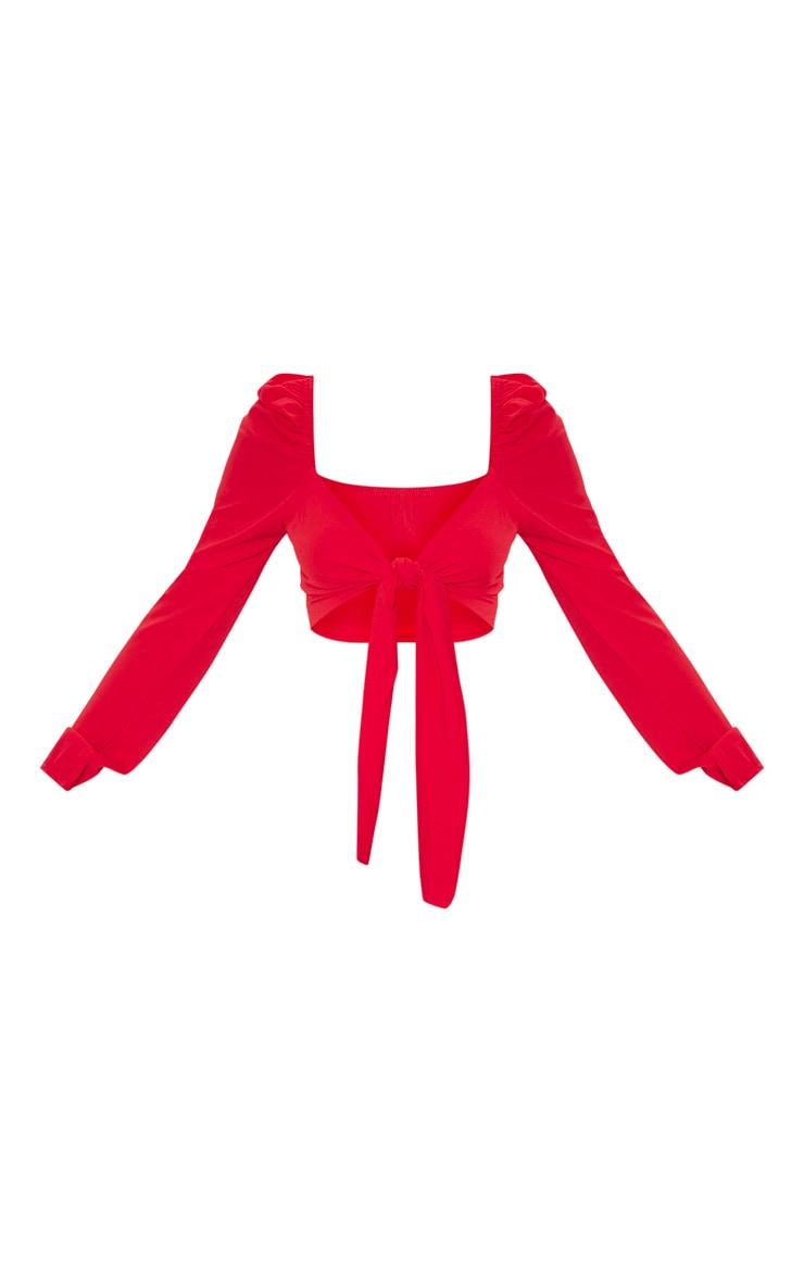 Red Pebble Crepe Puff Long Sleeve Tie Crop Blouse 3