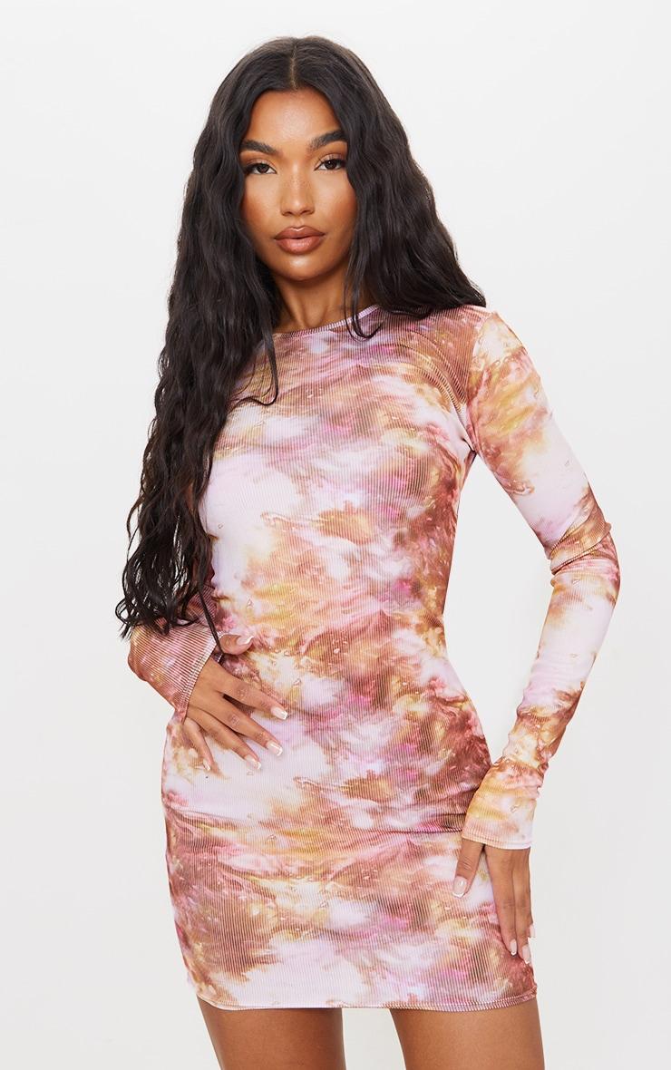 Multi Tie Dye Ribbed Long Sleeve Bodycon Dress 3
