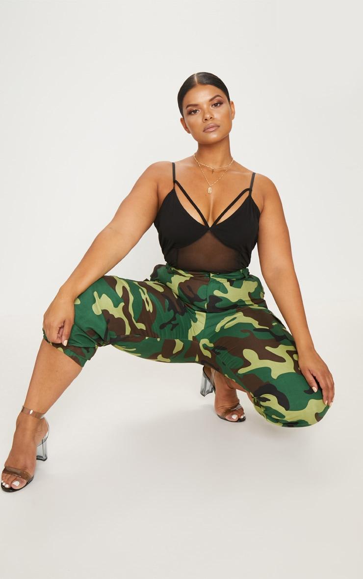 Plus Black Harness Detail Mesh Bodysuit 3