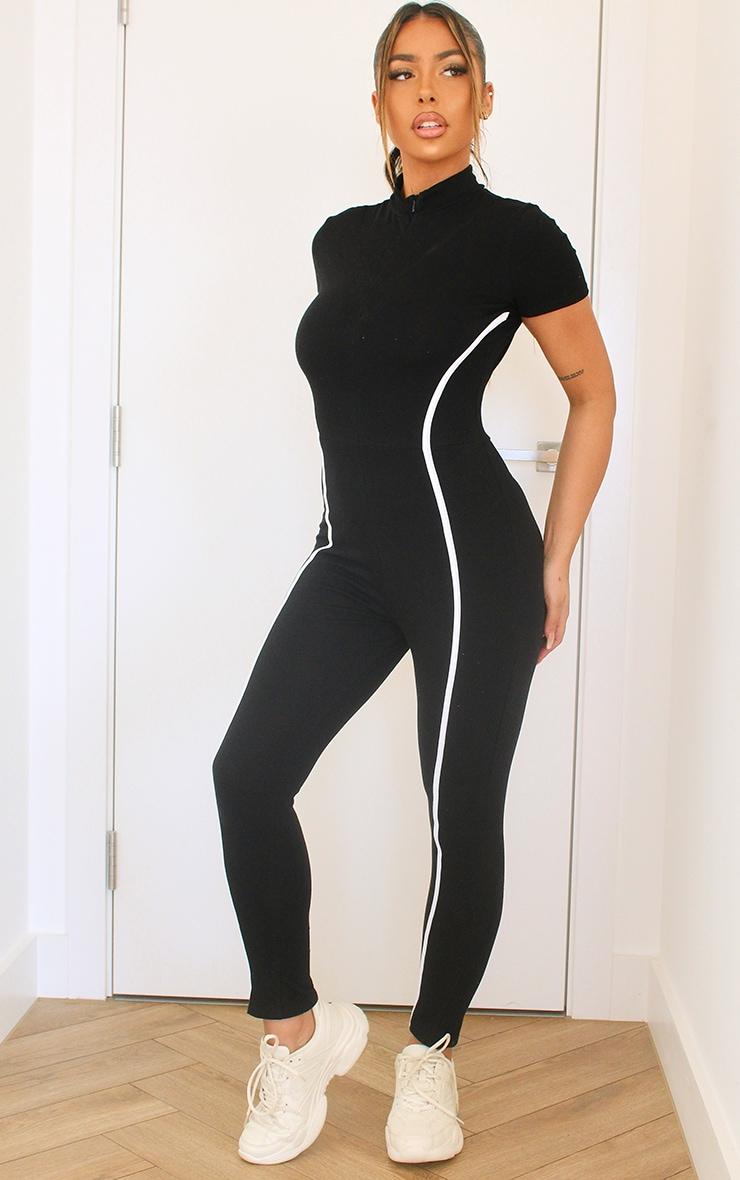 Black Sports Stripe Short Sleeve Jumpsuit 1