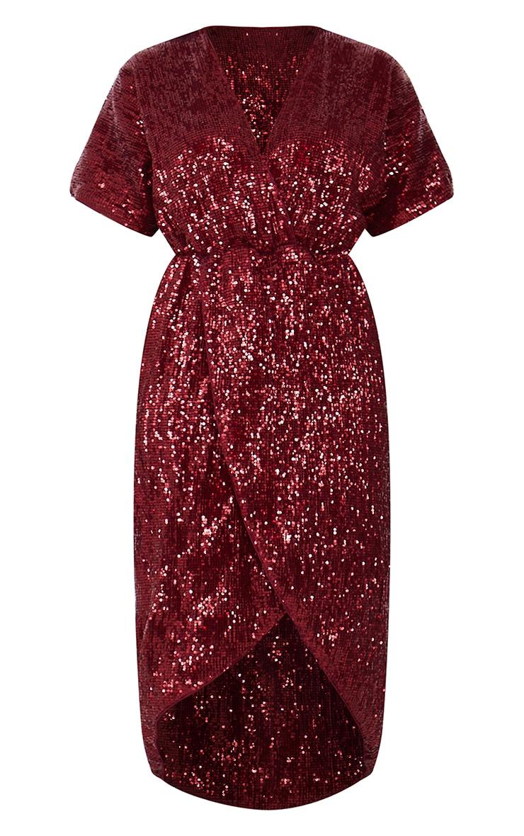 Burgundy Sequin Short Sleeve Wrap Midi Dress 5
