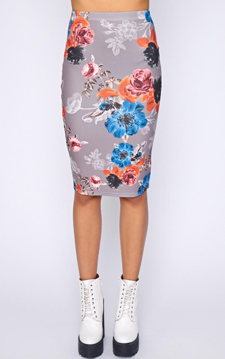 Juliette Mocha Floral Midi Skirt  4
