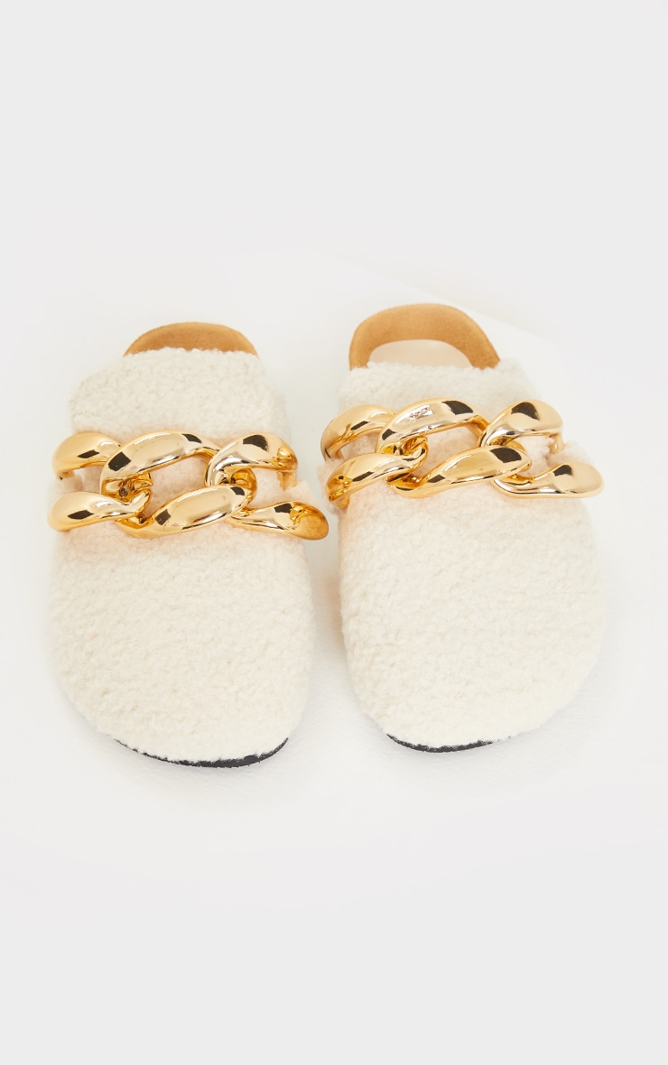 Cream Faux Shearling Chunky Chain Mules 3