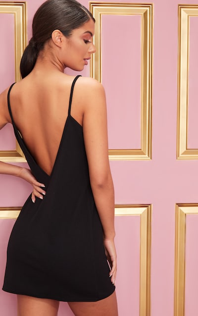 Black Stry Detail Backless Cami Dress