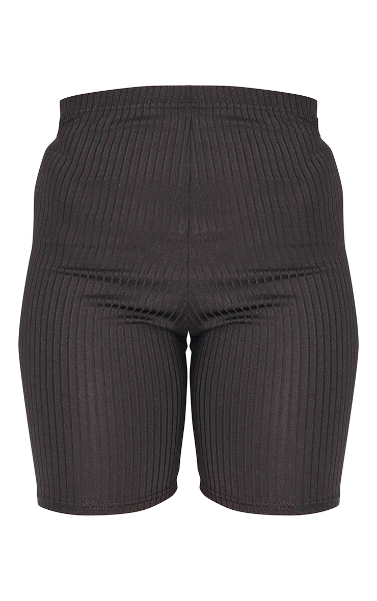 Petite Black Ribbed Cycle Short 6