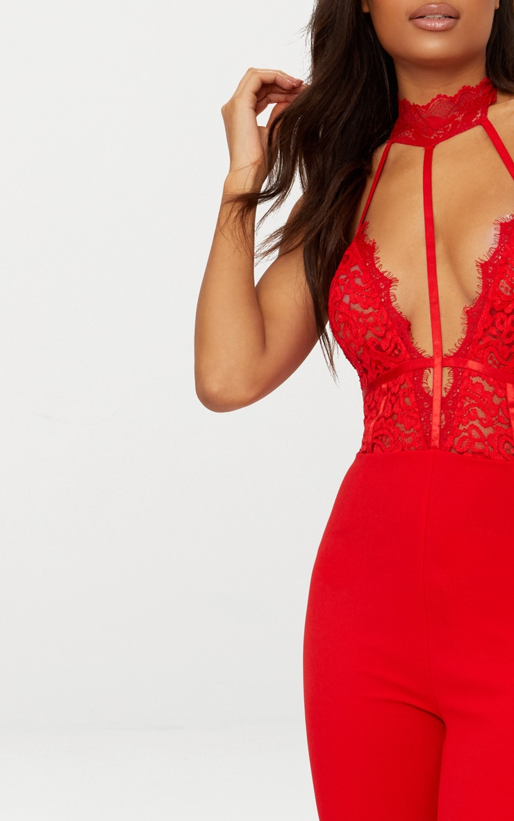 Red Lace Harness Jumpsuit 5