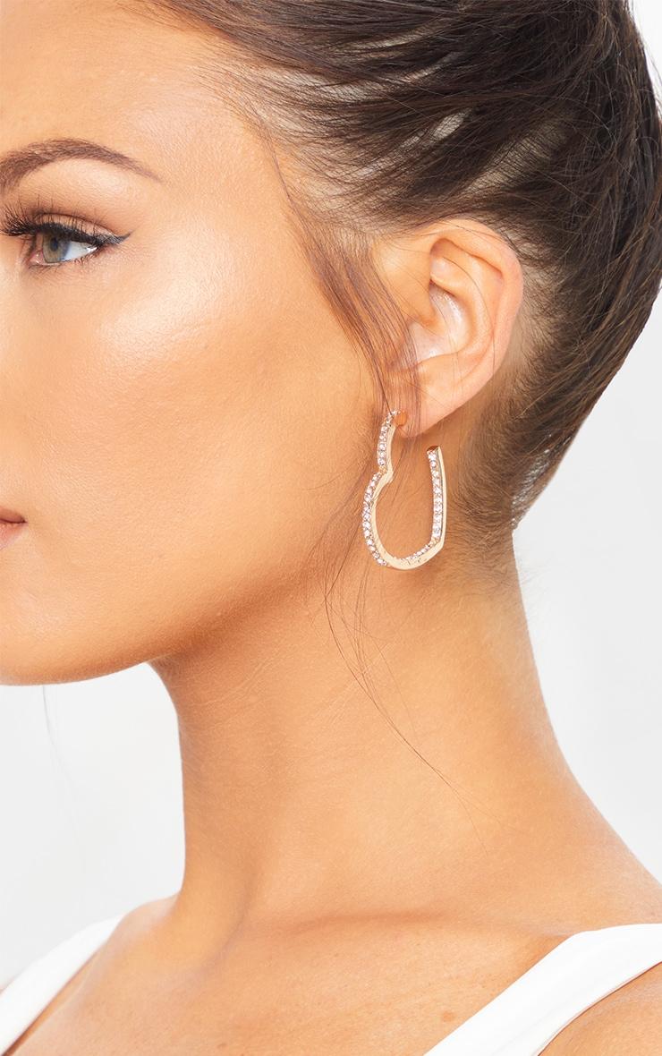 Gold Diamante Stud Heart Earrings 1