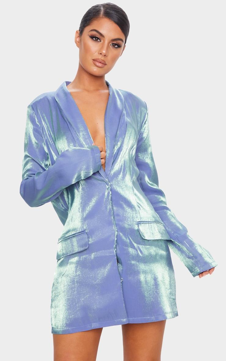 Robe blazer bleue irisée à manches longues 1