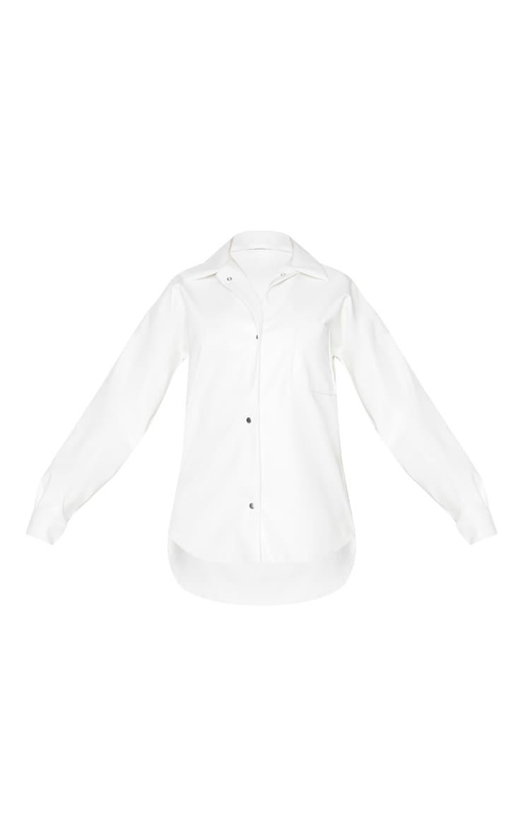 Tall Cream PU Popper Shirt 4
