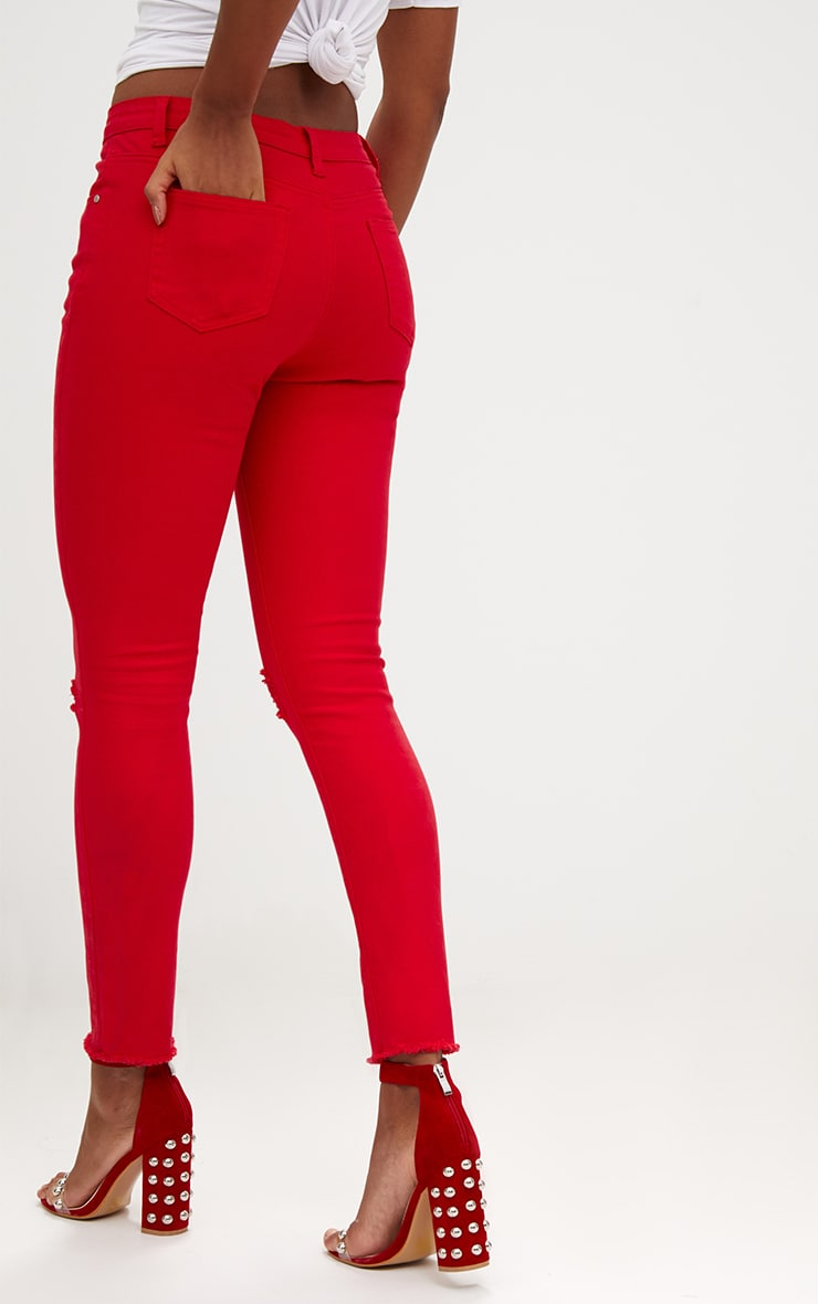 Red Rip Knee Skinny Jean 4