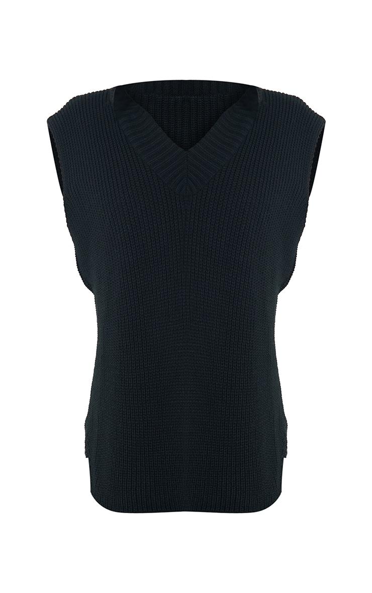 Tall Black V Neck Knitted Side Split Vest 5
