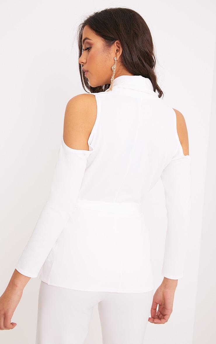 Orabelle White Cold Shoulder Belted Blazer 2