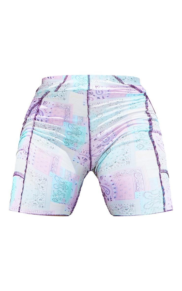 Shape Lilac Paisley Print Rib Overlock Cycling Shorts 6