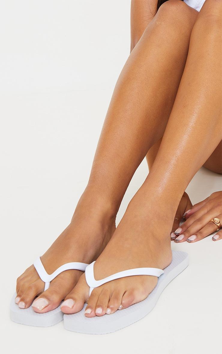 White Square Toe Flip Flop 2