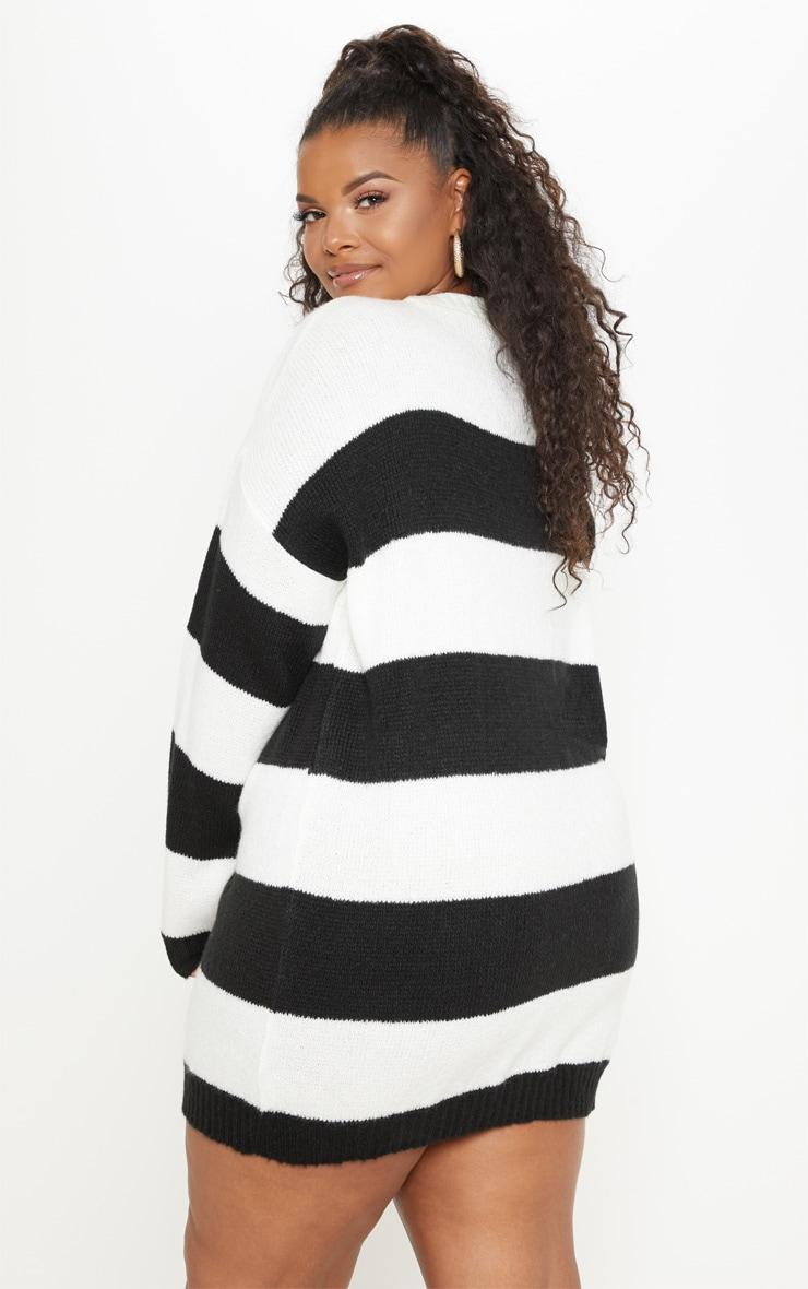 PLT Plus - Robe pull oversize à rayures noires et blanches 2