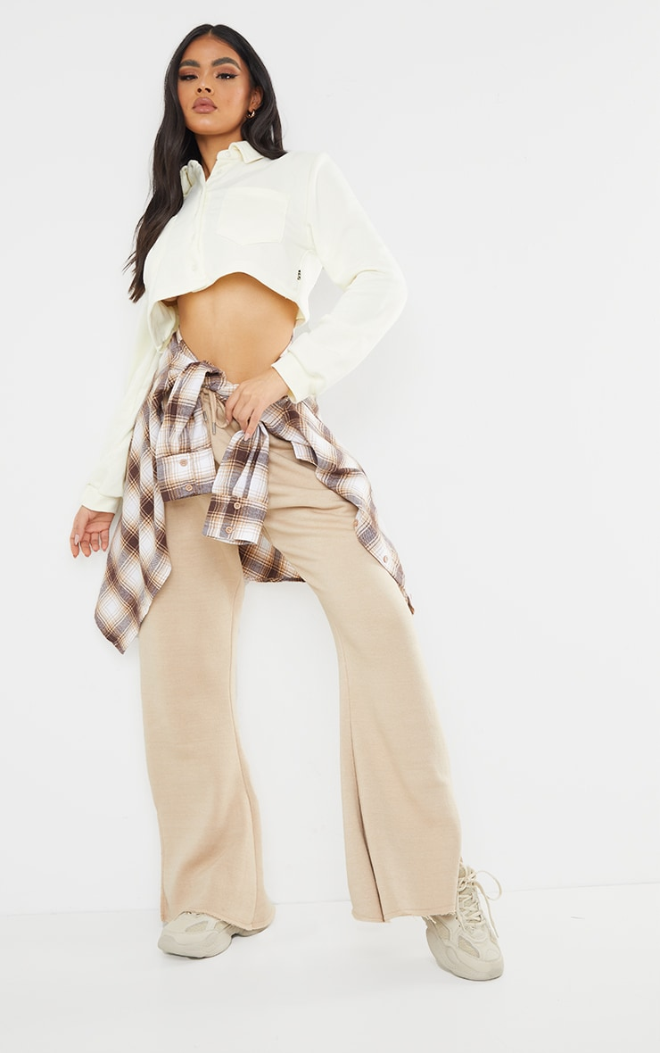 PRETTYLITTLETHING Cream Button Front Crop Polo Shirt 3