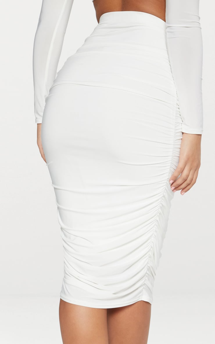 White Slinky Second Skin Ruched Midi Skirt 4