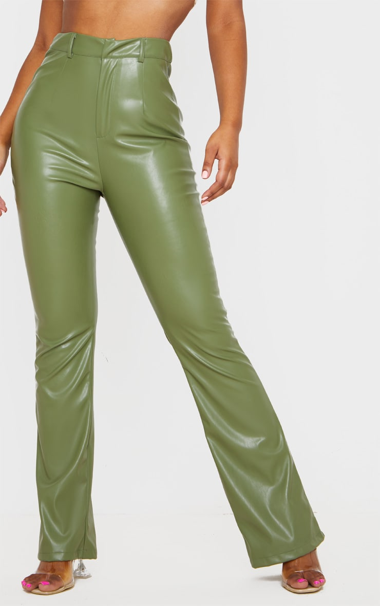 Khaki PU Flared Pants 2