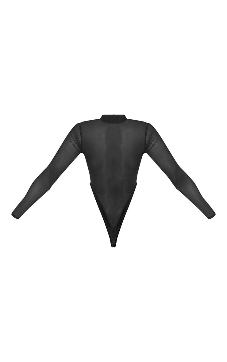 Black Mesh High Neck Panel Detailing Bodysuit 6