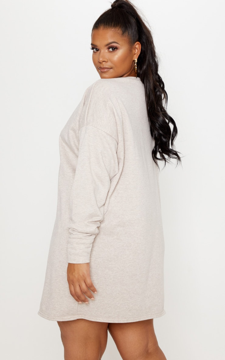 Plus Stone Oversized Sweater Dress 2