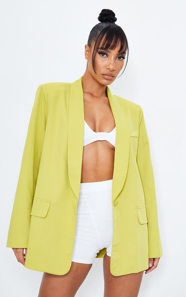 Lime Curved Lapel Woven Longline Blazer 6