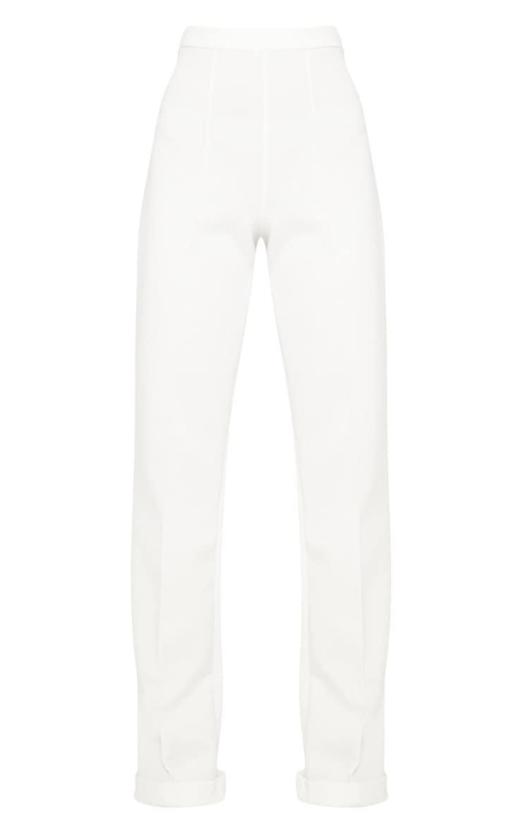 White Scuba Front Seam Turn Up Hem Detail Trouser 3