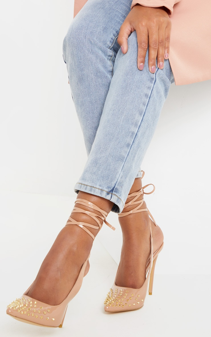 Nude Spike Ankle Tie Court Shoe 2
