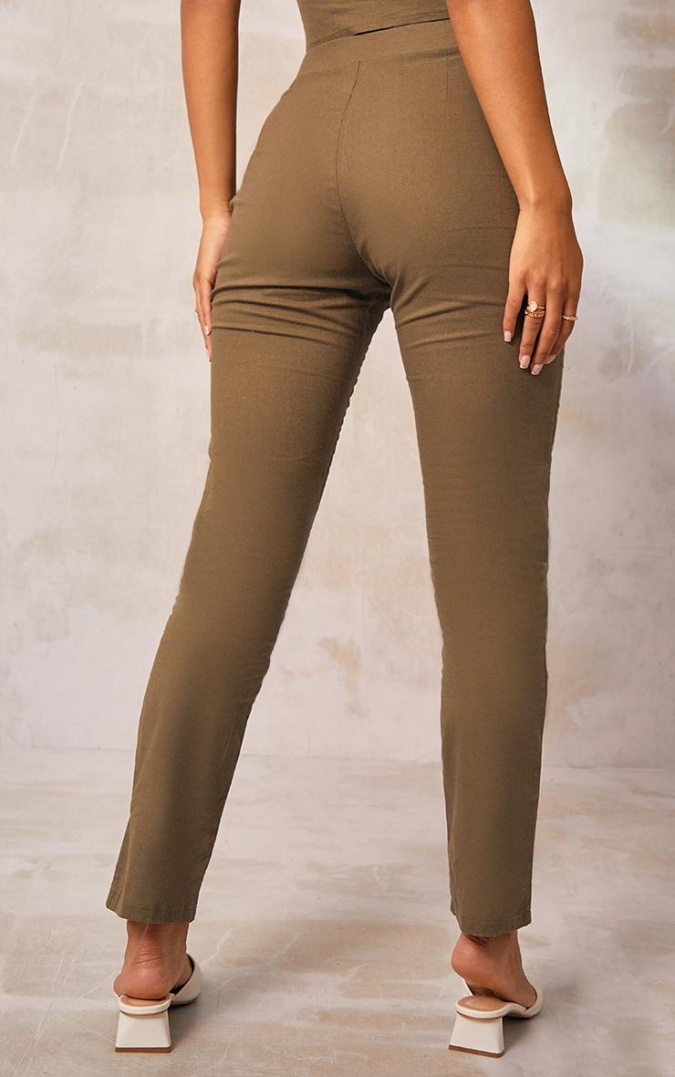 Khaki Woven Linen Straight Leg Pants 3