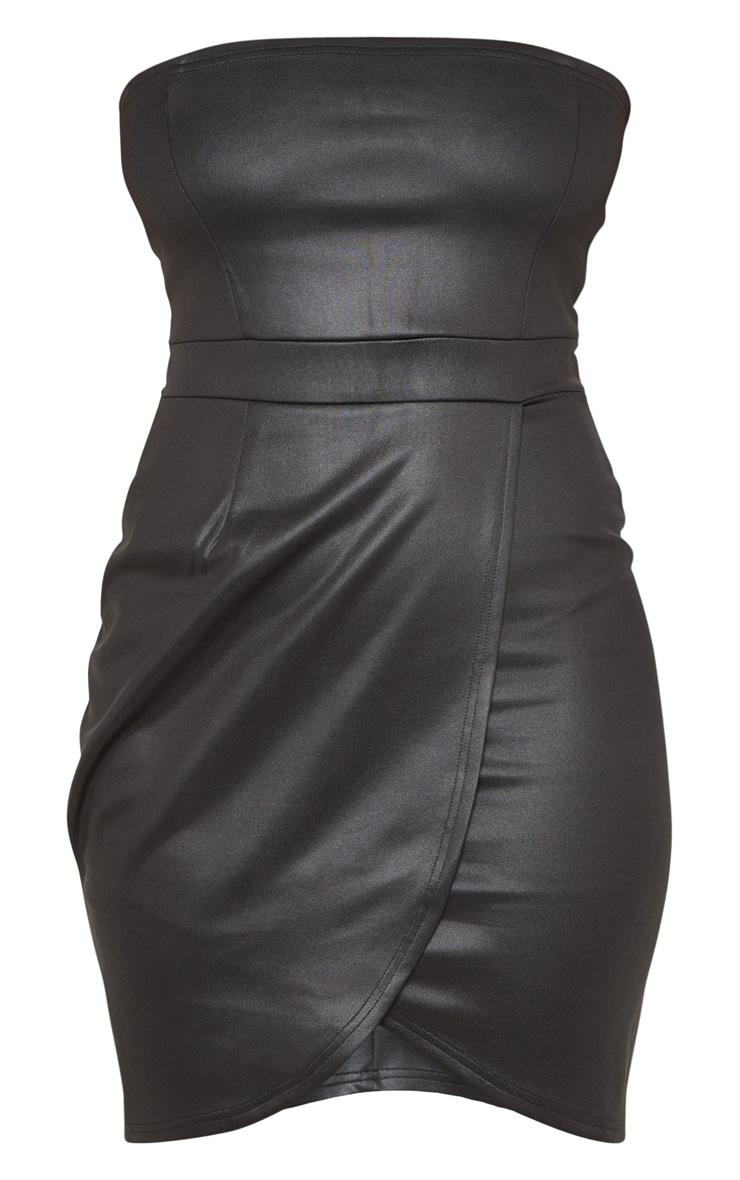 Tall Black PU Zip Back Bandeau Bodycon Dress 3