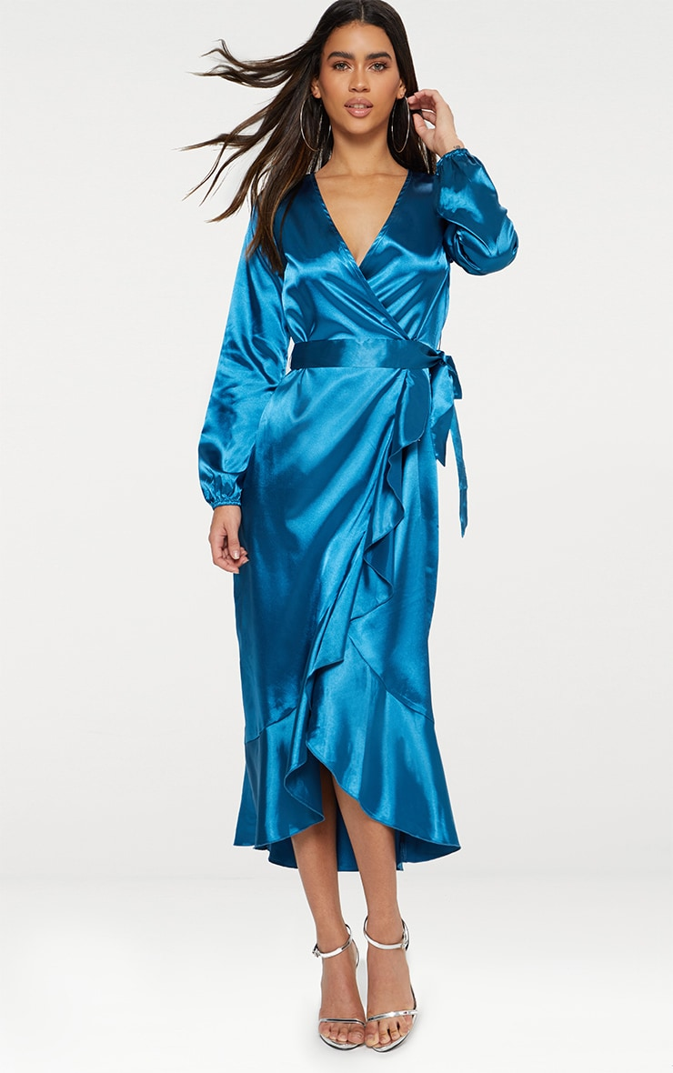 Wrap Plunge Frill Detail Long Sleeve Satin Midaxi 3
