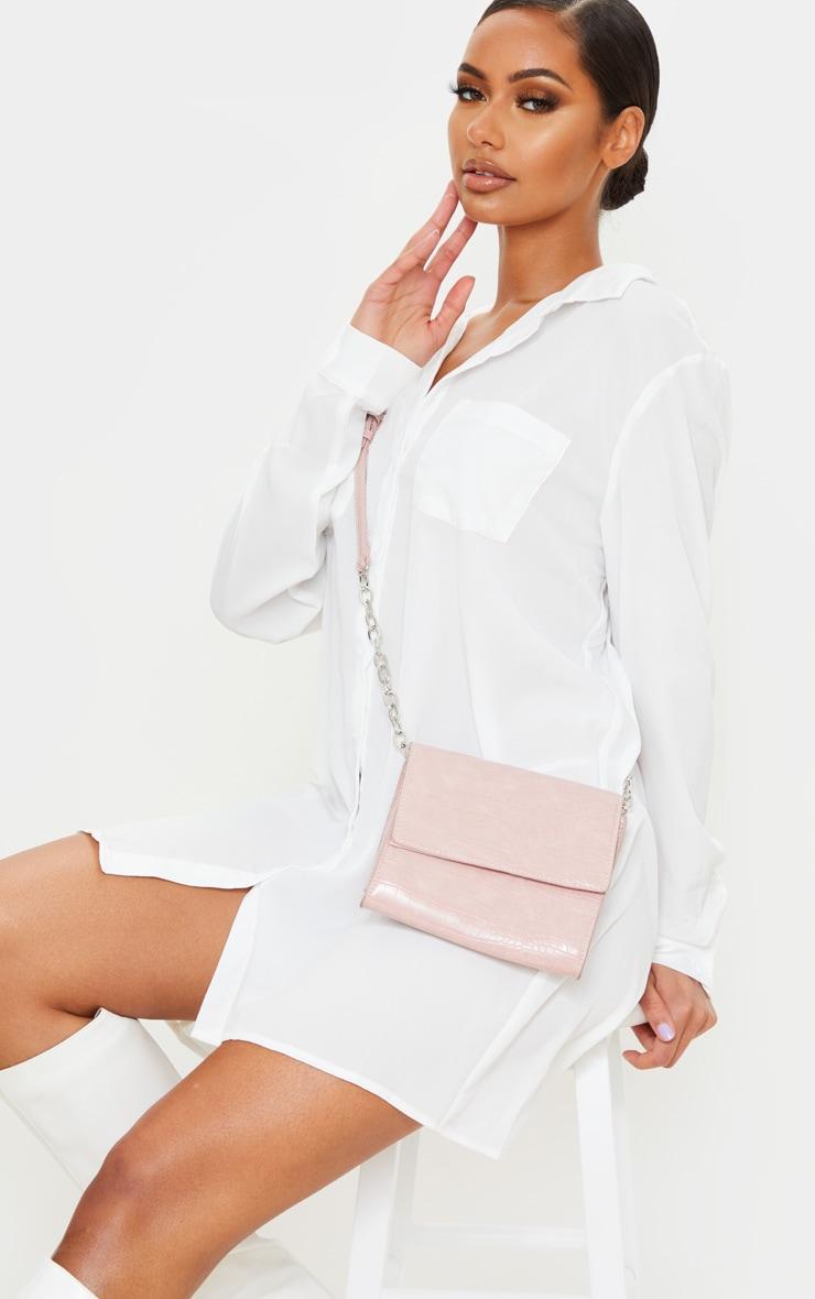 Pink Croc Square Mini Cross Body Bag 1