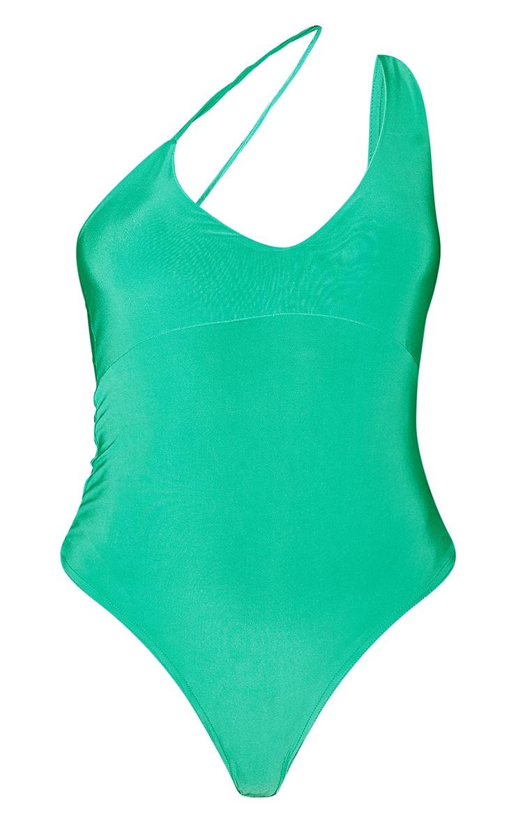 Bright Green Slinky Asymmetric Strap Bodysuit 5