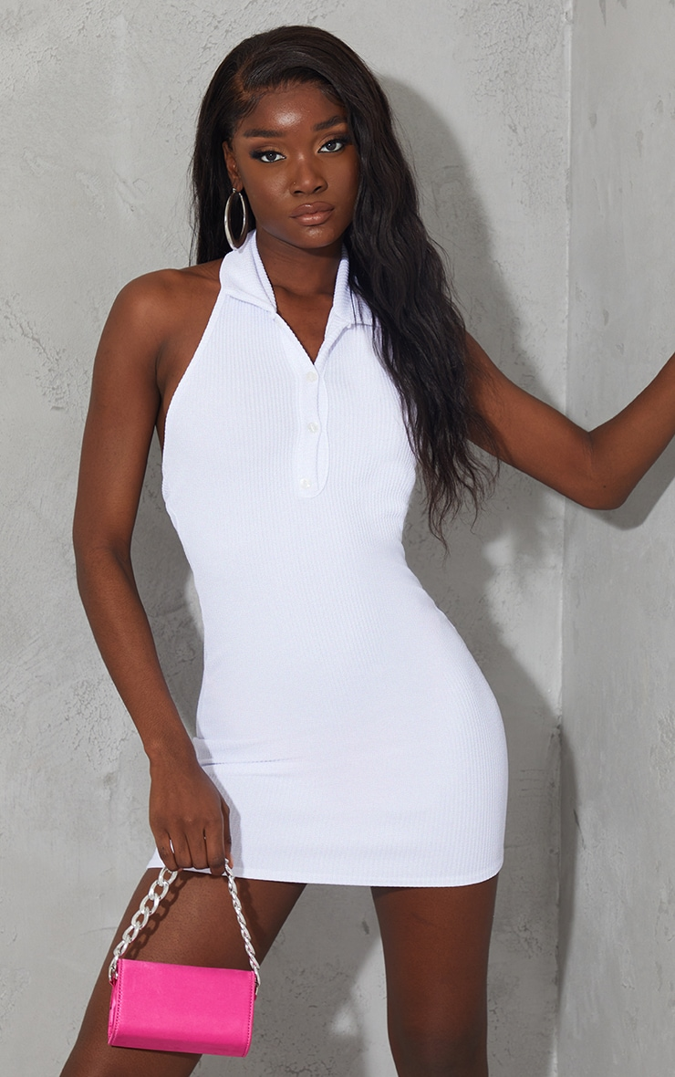 White Rib Halterneck Button Detail Bodycon Dress 1