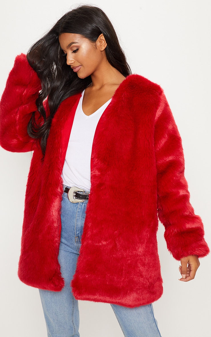 Red Midi Faux Fur Coat  1