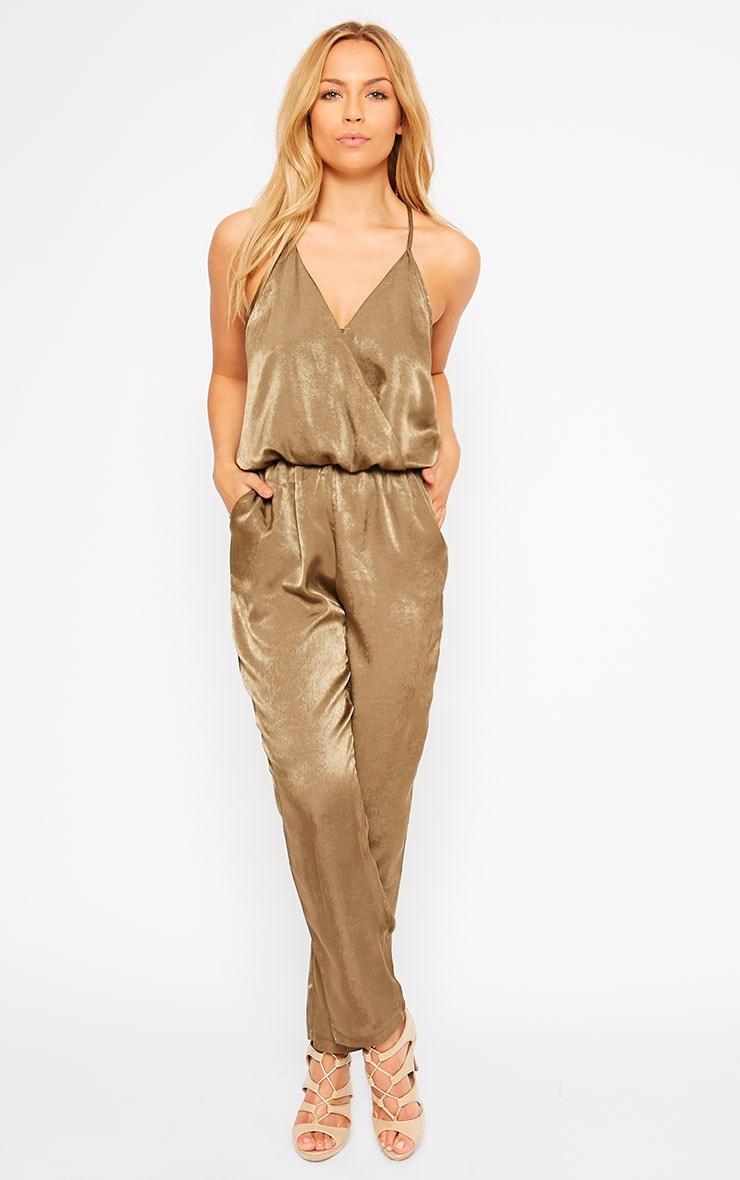 Lila Khaki Silky Wrap Jumpsuit 1