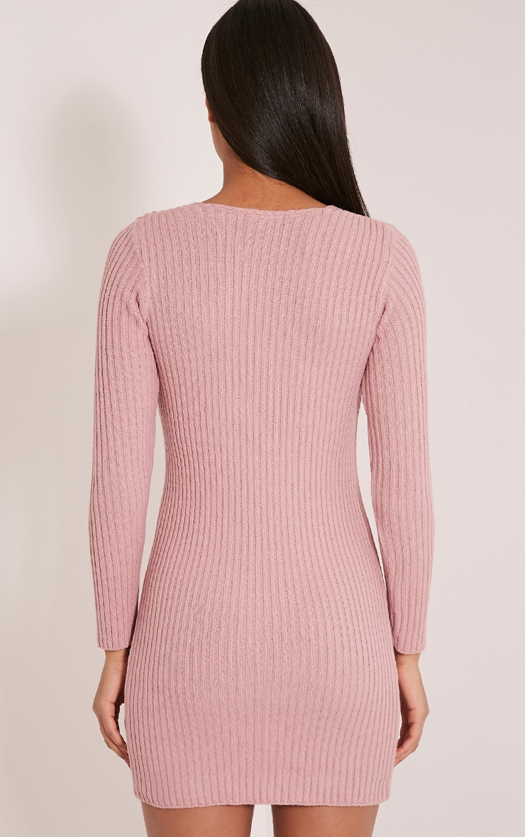 Zosia Rose Lace Up Knitted Jumper Dress 2