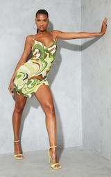 Green Abstract Print Slinky Strappy Wrap Detail Bodycon Dress 1