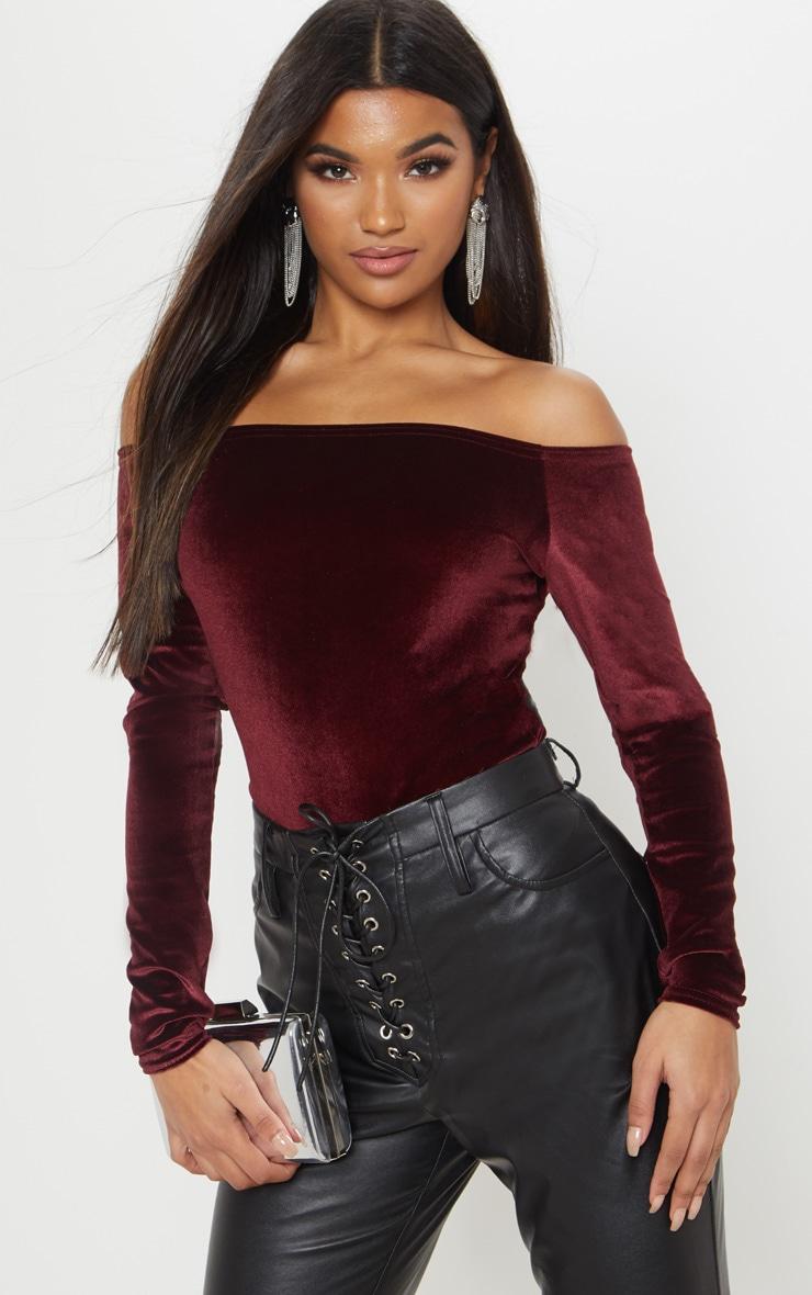 905ef9123d911b Burgundy Velvet Bardot Bodysuit | Tops | PrettyLittleThing AUS