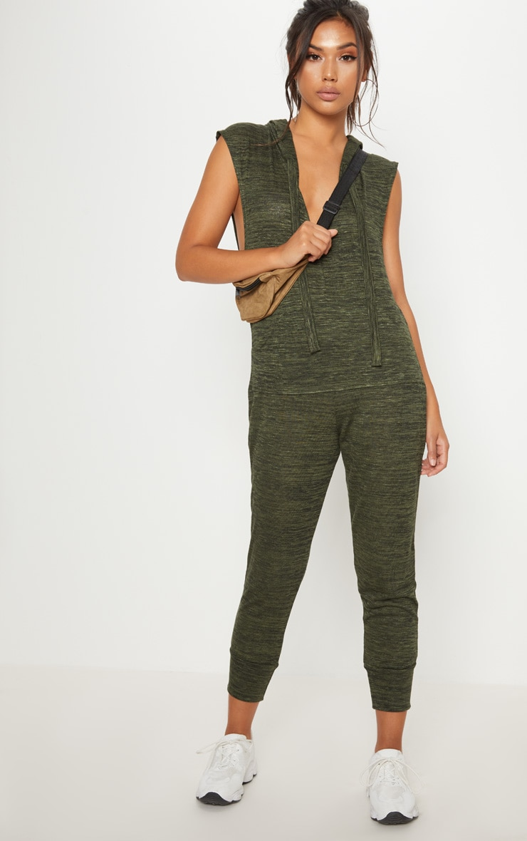 Khaki Knitted Hooded Jumpsuit 4
