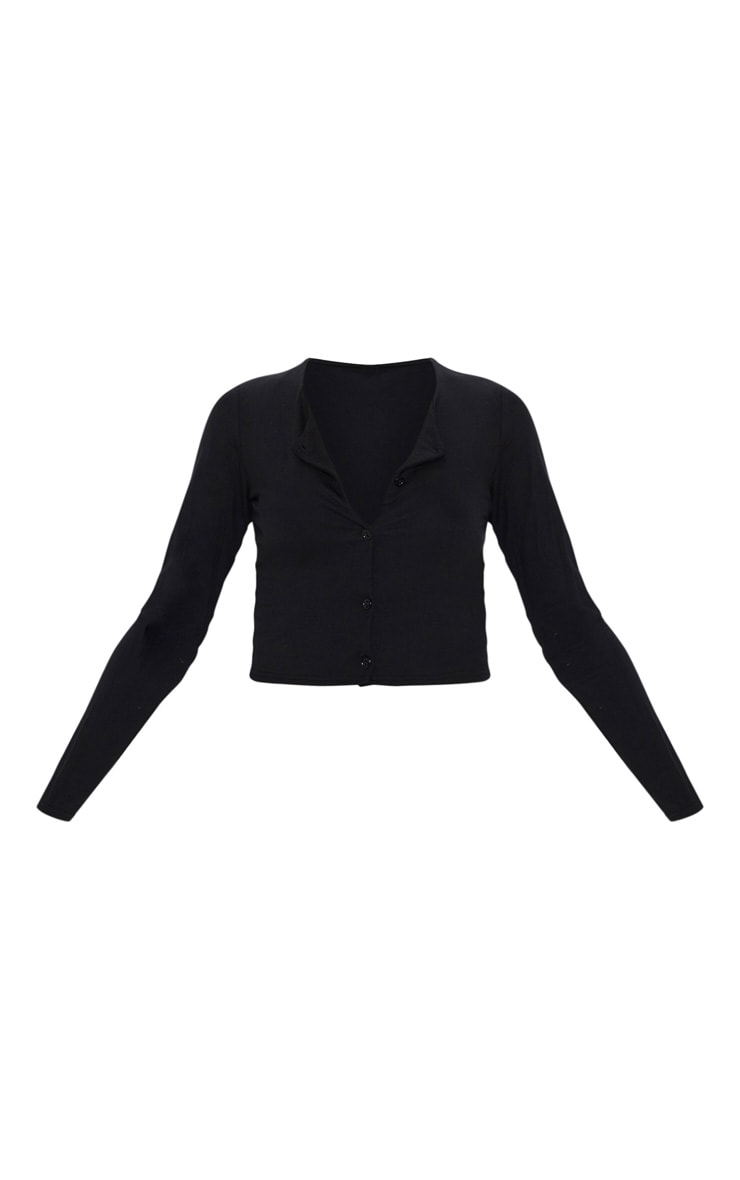 Black Button Front Long Sleeve Crop Top 3