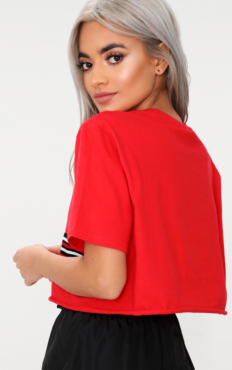 Red Sporty Tape Crop T Shirt  2